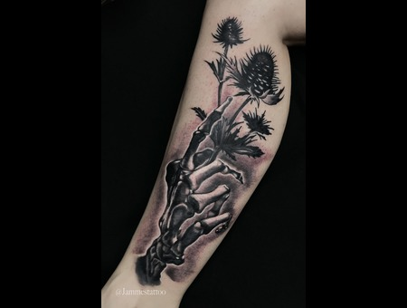 Hand Skeleton Tattoo Black Grey Lower Leg