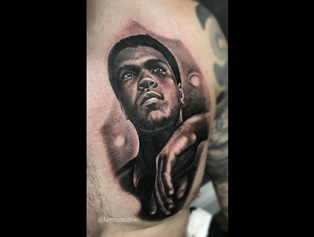 Muhammad Ali Tattoo Black Grey Chest