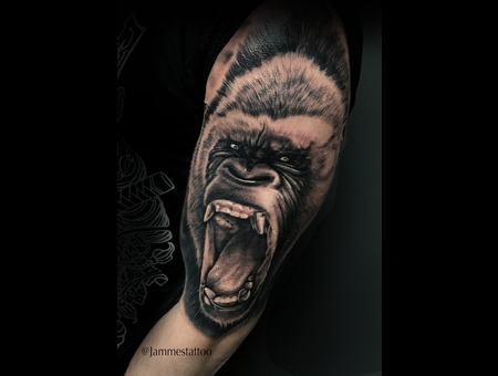 Gorilla Tattoo Portrait  Black Grey Shoulder