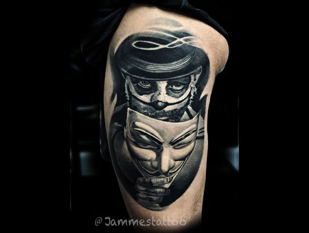V For Vendetta Tattoo Black And Grey  Black Grey Thigh