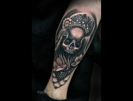 Skull Tattoo Black And Grey  Black Grey Lower Leg