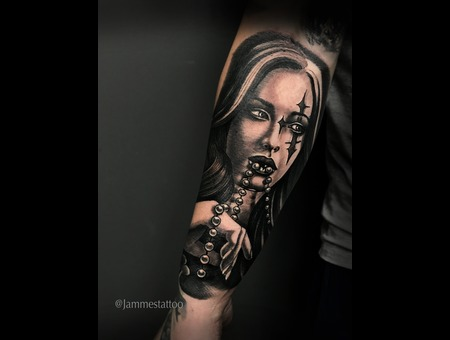 Girl Realistic Tattoo Portrait Jammestattoo Black Grey Forearm