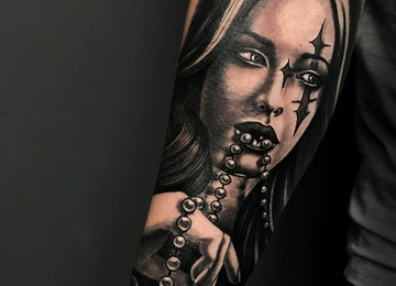 girl realistic tattoo portrait jammestattoo