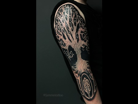 Tree Tattoo Of Life  Black Grey Arm