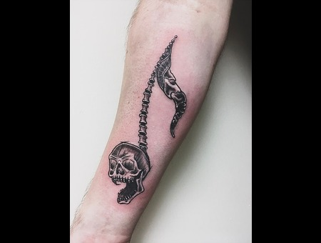 Blackwork Tattoo  Skull Tattoo  Music Note Tattoo Black Grey Forearm