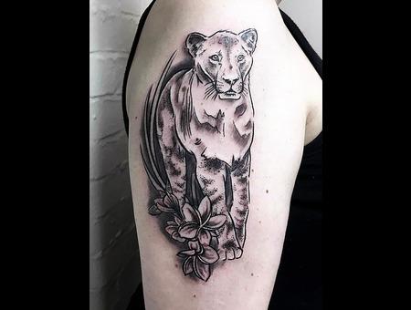 Lioness Tattoo  Animal Tattoo Black Grey Arm