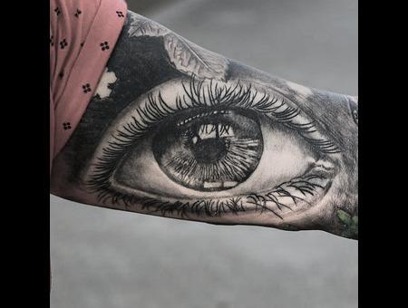 Realism Eyetattoo Blackandgrey Black Grey Arm