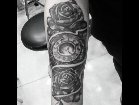 Realism  Blackandgrey Clocktattoo Black Grey Arm