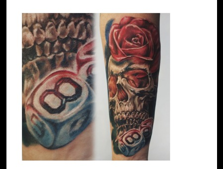 Skull With Bones  Color Forearm