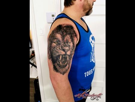 Lion #Lion #Realistic  Black Grey