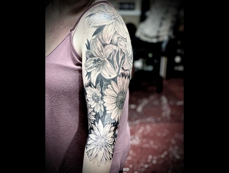 Floral Tattoo  Black And Grey Tattoo  Realism Tattoo Black Grey Arm