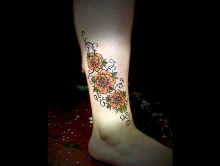 Marigolds Tattoo  Floral Tattoo  Color Tattoo  Color Lower Leg