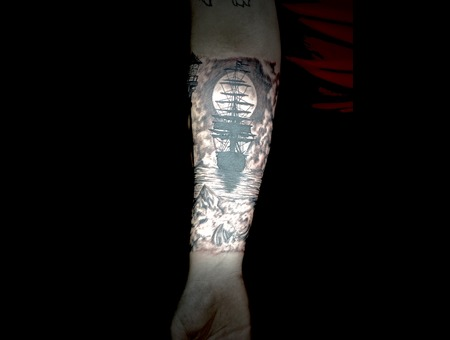 Ship Tattoo  Black And Grey Tattoo  Silhouette Tattoo  Realism Tattoo Black Grey Forearm