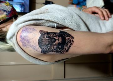 Photo realistic, leopard tattoo, realistic leopard tattoo,