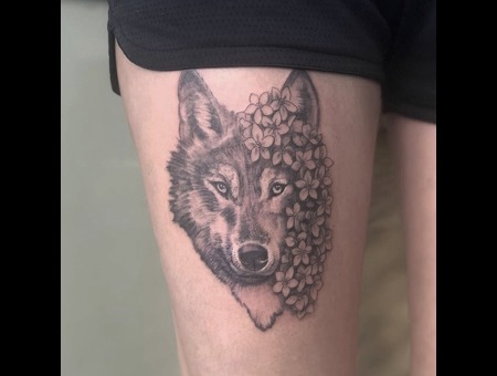 Wolf Forget Me Nots Girl Best Fineline Realism Realistic Delicate Feminine Black Grey Thigh