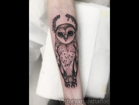 Owl Nature Owl Tattoo  Illustrative Creative Blackwork Witch Girly Feminine Black Grey Forearm