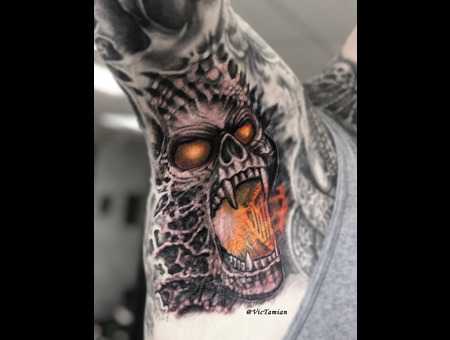 Armpit Fire Biomechanical Organic Bioorganic Horror Skull Gore 3d Demon Color Arm