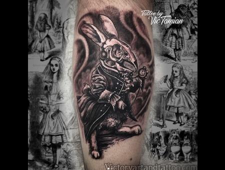 Alice In Wonderland Rabbit White Rabbit Book Tattoo Horror Gore Skull Goth Black Grey Lower Leg