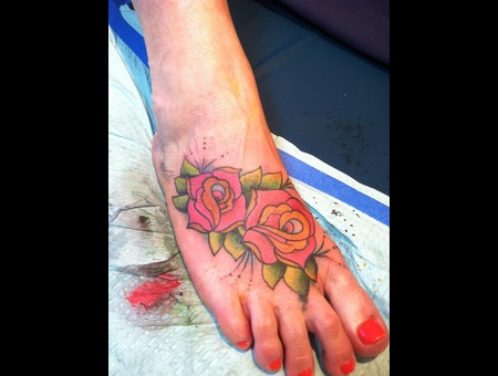 Rose  Foot Tattoo Color