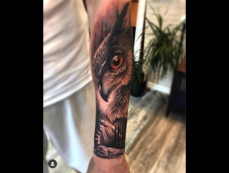 Owl Black Grey Forearm