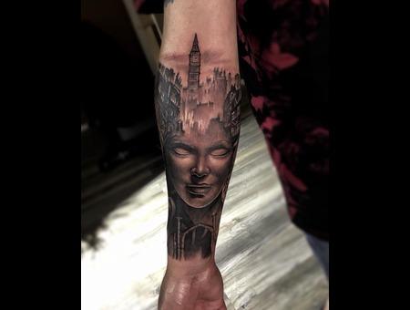 Girl Face Black Grey Forearm