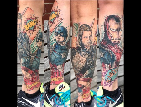 Marvel   Ironman  Thor  Captain America  Color Lower Leg