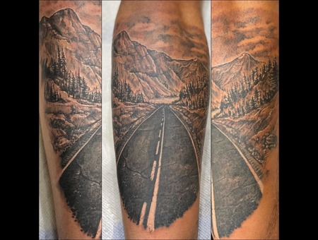 Highway  Detail  Road  Scene  Black Grey Forearm
