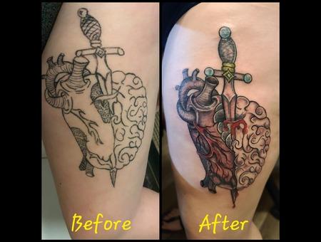 Rework Of A Existing Tattoo (I'm Not The Original Artist) Color Thigh