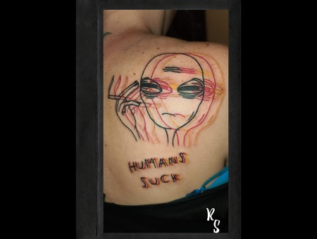 Weird Trippy Tattoos Color Shoulder