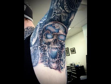 Biomechanical Bio Black Skull Blue Glowing Underarm Horror Organic Color Arm