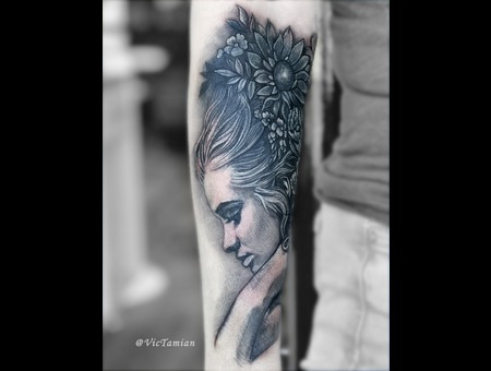 Coverup Coveruptattoo Blackandgrey Black Woman Face Beautiful Portrait Black Grey Forearm