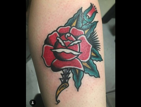 Rose  American Traditional  Bold Will Hold Color Forearm