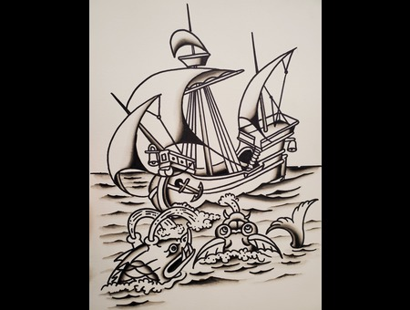 Traditional. Sea Monsters. Sailing  Flash Vessel  Sea  Classic Color Thigh