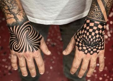 3D optical illusion tattoo, black work, geometric tattoo