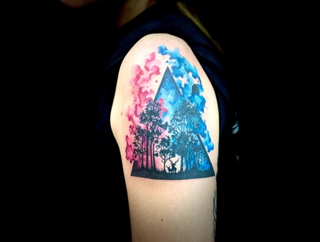 Abstract Tattoo  Watercolor Tattoo  Galaxy Tattoo  Black Work Forest Tattoo Color Arm