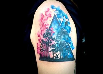 Abstract tattoo, watercolor tattoo, galaxy tattoo, black work forest tattoo