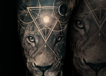 lion tattoo, surrealism, galaxy, space, geometry