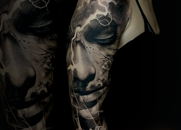 dark fantasy, portrait, black and grey realistic, surrealism