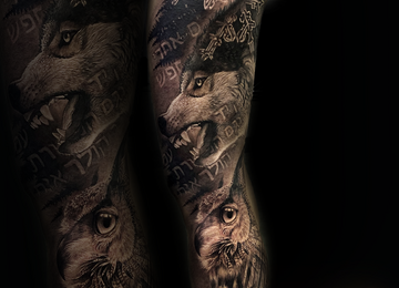 wolf, owl, leg sleeve, black and grey realistic tattoo, surrealism