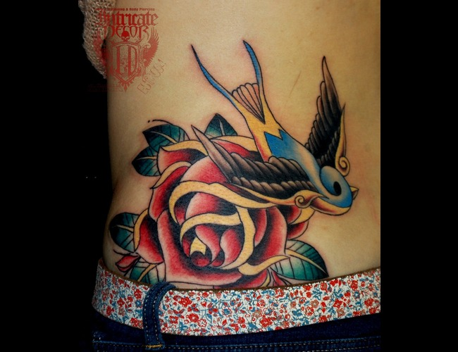 Traditional  Swallow  Bird  Rose Color Back