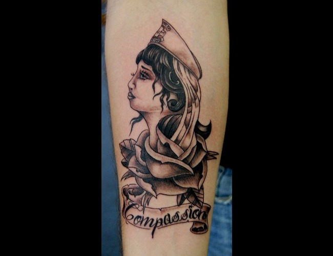Traditional  Nurse Black White Forearm