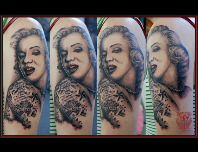 Marilyn  Tattooed Black White Arm