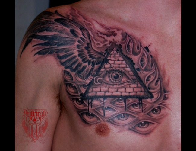 All Seeing Eye  Illuminati  Alex Grey Black White Chest