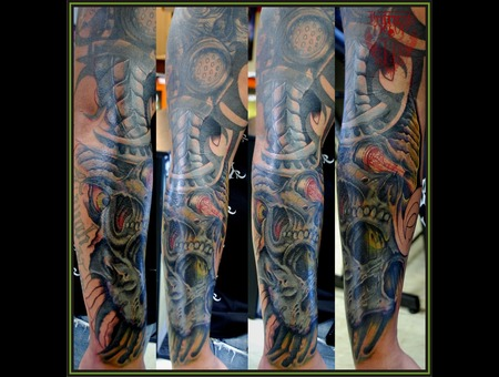Coverup  Tribal  Skulls  Bio Mechanical Color Arm