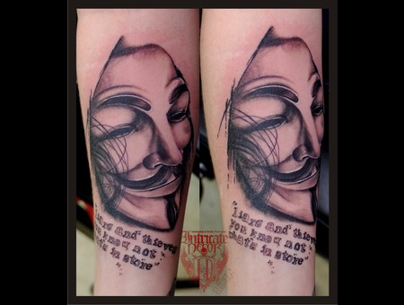 V  V For Vendetta Black White Forearm