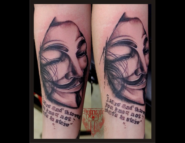 V  V For Vendetta Black White Forearm
