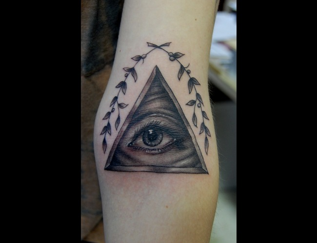 Pyramid  All Seeing Eye Black White Arm