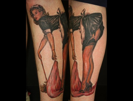 Pin Up  Girl  Color Lower Leg