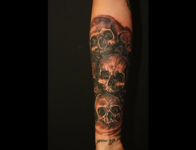 Skull Black White Arm