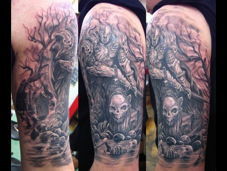 Skull  Warrior  Fantasy Black Grey Arm